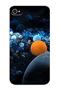 Fashion Tpu Case For Iphone 4/4s- Blue Orange Fractals Bubbles Defender Case Cover For Lovers