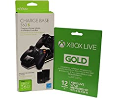 Microsoft Xbox LIVE 12 Month Gold Membership & Nyko Charge Base 360 S for Xbox 360