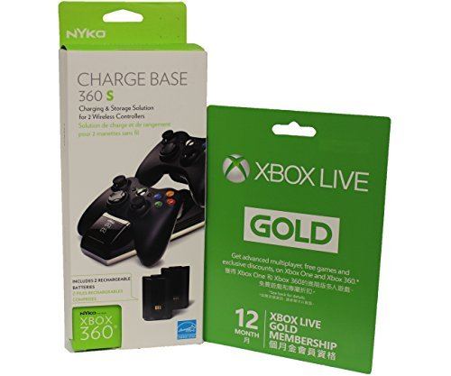 Microsoft Xbox LIVE 12 Month Gold Membership & Nyko Charge Base 360 S for Xbox 360 by microsoft/nyko