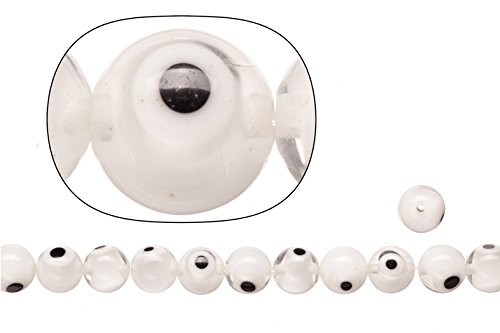 - Glass beads, cream white clear stripe evil eye amulet design, 10mm round sold per 36cm string