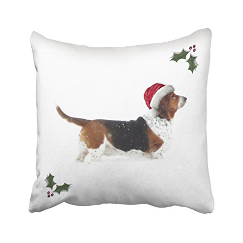 Musesh Christmas Pillow with Basset Hound in Santa hat Cushions Case Throw Pillow Cover for Sofa Home Decorative Pillowslip Gift Ideas Household Pillowcase Zippered Pillow Covers 16X16Inch