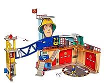Simba 109251059 Sam - Estación de Bomberos (tamaño XXL, Incluye Figura de Juguete Sam, con luz, Sonido y Radio, para niños a Partir de 3 años)