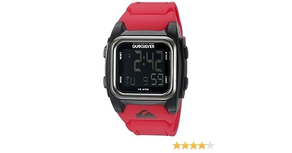 Quiksilver The Grom Reloj de Cuarzo con Pantalla Digital LCD, Correa de Silicona roja Cuadrada QS/1020bkrd: Amazon.es: Relojes