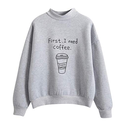 Lovor Women's Sweatershirt First I Need Coffee Letter Printed Long Sleeve Pullovers Loose Casual Hoodies Tops Blouse(Gray,XL)