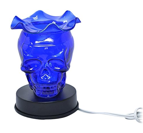 (L&V Glass Electric Touch Fragrance Lamp Oil Warmer Tart Burner Night Light Blue Skull)