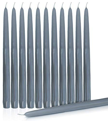 Higlow Dripless Taper Candles 10 Inch Tall Wedding Dinner Candle Set of 12 (Grey) Gray