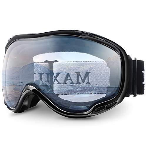 Juli Ski Snowboard Googles UV Protection Anti-Fog Snow Goggles for Men Women Youth(Black Frame+82% VLT Clear Len)