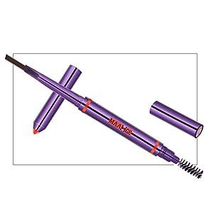 Iskas 2 in 1 Automatic Eyebrow Pencil with Brow Brush Double-headed Waterproof Drawing Eye Brow Pen Makeup Eyebrow Stamp Cosmetic Tool - #02 Dark Brown