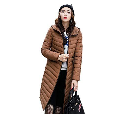 Vintage Donna Cappotti Invernali Coat Di Cerniera Manica Moda Colori Tasche Giacca Piumini Kaffee Lunga Solidi Cappuccio Anteriori Con nfW4BYfrq
