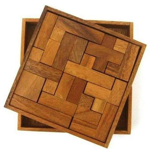 Solid Pentominoes Wooden Puzzle Geometry Brain Teaser -
