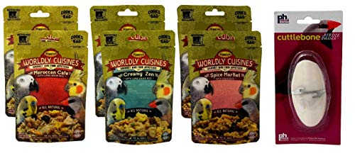 Higgins Worldly Cuisines Gourmet Food Appetizer for All Birds 3 Flavor 6 Pouch with Cuttlebone Bundle, 2 Each: Moroccan Cafe, Creamy Zen, Spice Market (2 Ounces)