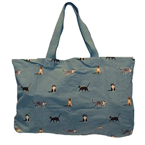 Large Tote Bag - Multi Cat Print on Turquoise Canvas, Multipurpose Cotton Travel Shopper Bag