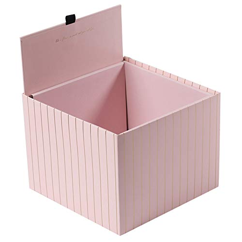 Grey990 1Pc Square Stripe Flower Bouquet Paper Packing Box Case Holder Florist Gift Box Decoration Pink