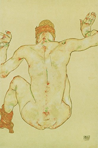 Seated Female Nude, Back View, 1915 by Egon Schiele Art Print, 11 x 16 inches