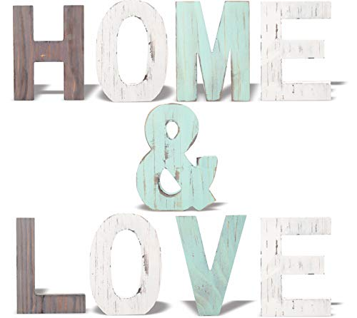 MEANT2TOBE Rustic Wood Home & Love Signs Home Décor |Freestanding Wooden Letters Cutouts for Home Décor|Multi-Color Wooden Signs |Decorative Word Signs|Multicolor Table Decor Centerpiece| -
