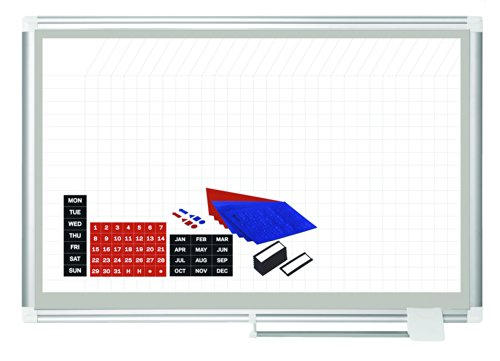 MasterVision Planning Board Magnetic Dry Erase Grid with Accessory Kit, 24