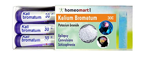 Homeopathy Kalium Bromatum 30C Pills for Epilepsy, Convulsion, Schizophrenia. Pack of 3, Sealed Boiron 4g Tubes