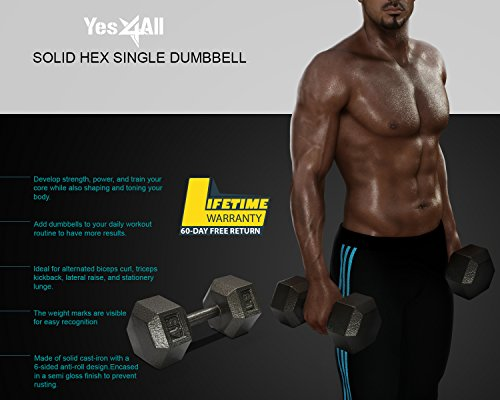 Yes4All AAAM Solid Hex Single Dumbbell, 20 lb