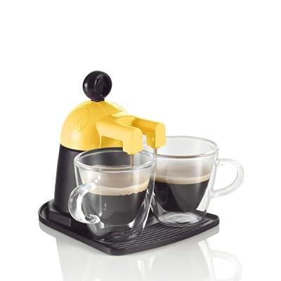 Brandani Cafetière Melita Express + 2 tasses en verre Orange Black, Yellow