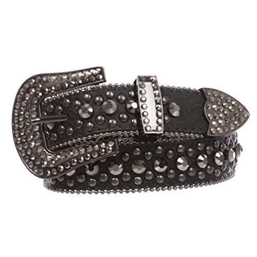 Women's Western Cowgirl Alligator Rhinestone Studded Leather Belt, Hematite   s/m 30