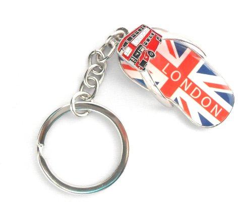 I Love London Souvenir / I Love London Kerying in Union Jack & London Bus / FLIP FLOP / THONG OLYMPICS 2012 MEMORABILIA UNION JACK KEYRING SILVER JUBILEE - I Love London Keychain - London Souvenir Keychain