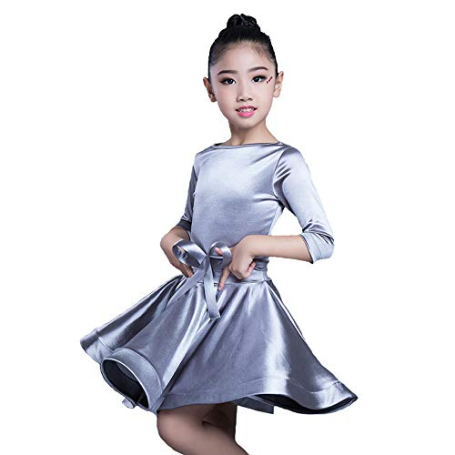 HOU FEI NIAO Dance Costume - Latin Dance Costume Standard Competition stipulates Professional Grading Costume Girls Latin Dance Skirt (Color : Gray, Size : XL) for $<!--$49.36-->
