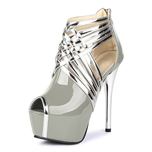 High Platform Heels Sandals Gray fereshte Ankle Stiletto Toe Strappy Womens PU Peep Sexy wnx8AqO4F