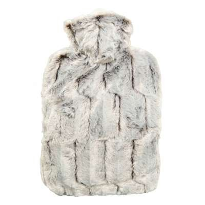 Hot Water Bottle with Cover - Hot Cold Pack Made of Burst Resistant Thermoplastic with Fleece Sleeve Helps Relieve Muscle Aches & Pains, Menstrual Cramps, Flu Symptoms (1.8L Faux Fur, Brown/Silver)