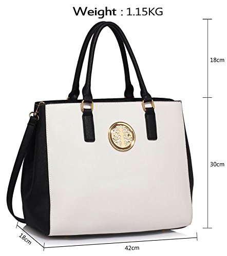 New Style Ladies Faux Black Large White Womens Bags Handbags New Leather 1 Female Design Designer Extra Shoulder Bags Look gzfg0HWnvc