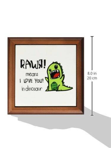 8 by 8-Inch 3dRose ft/_157446/_1 Rawr Means I Love You in Dinosaur Cute Dinosaur-Framed Tile Artwork