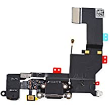 Johncase New OEM Original USB Charging Port Dock Connector Flex Cable + Microphone + Headphone Audio Jack Port Ribbon Replacement Part for iPhone 5S Black
