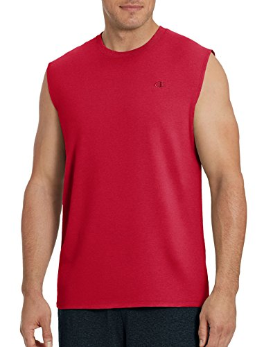 (Champion Men's Classic Jersey Muscle T-Shirt, Scarlet, L)