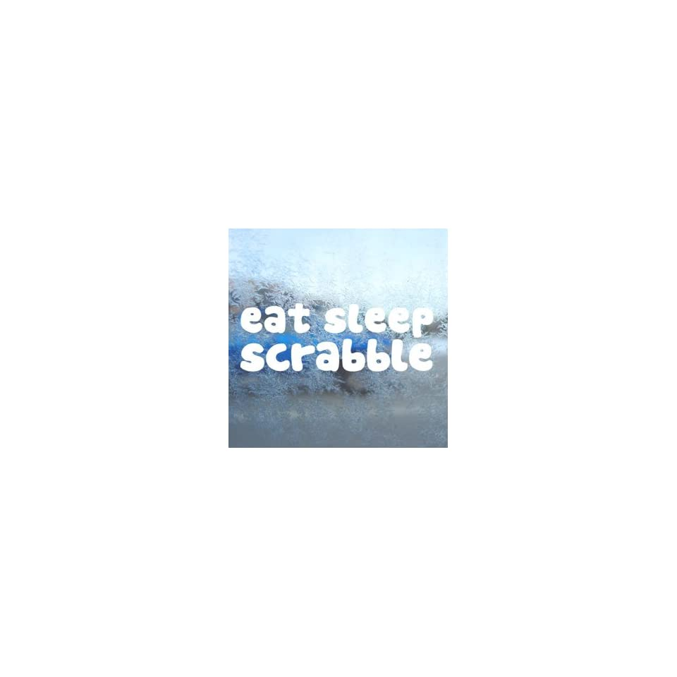EAT SLEEP Scrabble White Decal Car Window Laptop White