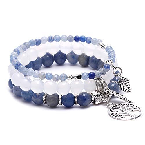 (BOMAIL Tree of Life Pendant Bohemian Bead Multi Layer Statement Bracelets for Women Agate Gemstone Chakra Beaded Bracelet Beach Charm Bracelet Set - Ocean Jewelry)