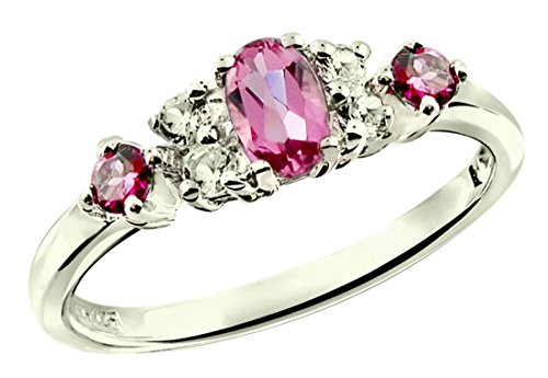 RB Gems Sterling Silver 925 Ring Genuine Gemstone (Emerald, Pink Tourmaline, Ruby) Rhodium-Plated Finish (7, Pink-Tourmaline)