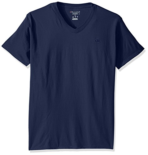 Champion Men's Classic Jersey V-Neck T-Shirt, Seabottom Blue, S from Champion