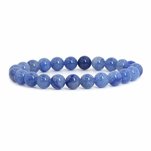 Natural Blue Aventurine Rock Crystal Gemstone 8mm Round Beads Stretch Bracelet 7