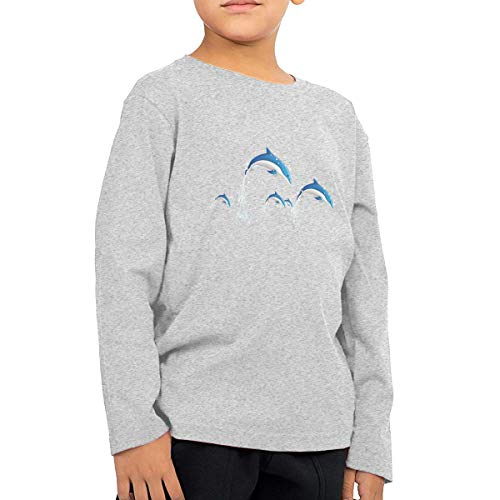 Unisex Baby Dolphin Water Splash Toddler's Long Sleeve Round Neck Casual Pullover T Shirt for Kid (Boys Girls) Gray -
