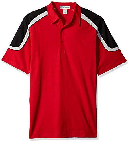 Red Birdseye Polo Performance - Ashe Xtream Men's Edry Colorblock Polo, Classic RED, L