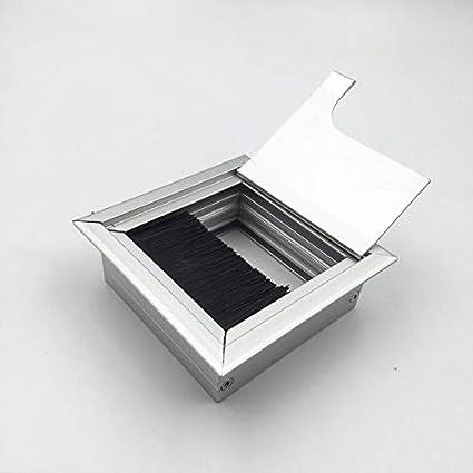 Pasacables con Tapa Línea de escritorio caja de cepillo de aluminio caja de cable caja de caja de cable caja de cable a través de caja de roscado 80 x 80 mm: