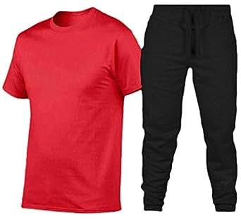 Men T Shirt Long Pants Sport Short Sleeve 2 Piece Tracksuit Sets 1 XS