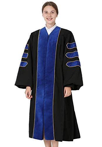 GraduationMall Deluxe Doctoral Graduation Gown for Faculty and Professor Phd Blue Velvet with Gold Piping 45(5'0
