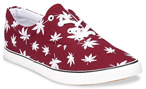 Hipster Mens Marijuana Weed Leaf Skate Shoe, Burgandy, 8 D(M) US