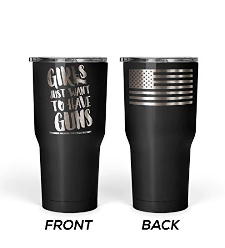 We The People - Girls Just Want To Have Guns Coffee Mug - Stainless Steel Travel Mug with American Flag - 30 oz Insulated Tumbler - Gun Gifts for Women - Gifts for Gun Lovers (Black)