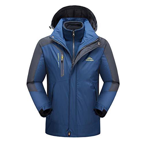 MAGCOMSEN 3-in-1 Men's Softshell Mountain Fleece Waterproof Ski Jacket Hooded Raincoat - Chest Pocket Denim Coat