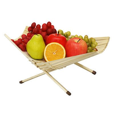 Bamboo Fruit Basket Chef Collection Foldable Produce Kitchen Table Bowl Decor
