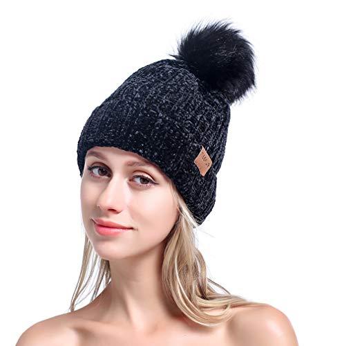 MEEFUR Womens Winter Pom Pom Beanie Crochet Adorable Trendy Hat Snow Knit Ski Bobble Cap Black