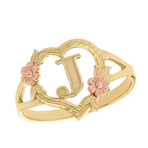 (CaliRoseJewelry 10k Two-Tone Initial Alphabet Personalized Heart Ring in Yellow and Rose Gold (Size 8) - Letter J )
