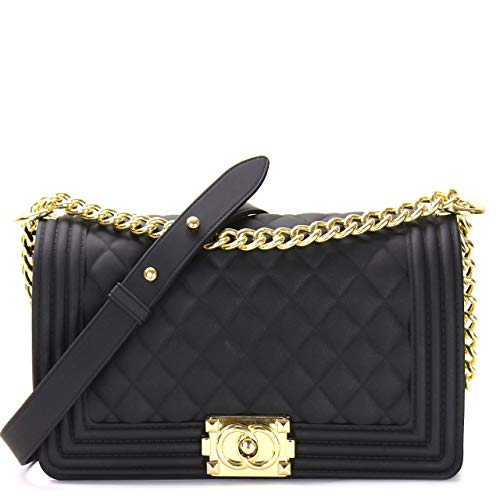 Luxury Silicone Quilted Shoulder Bag (BLACK ()