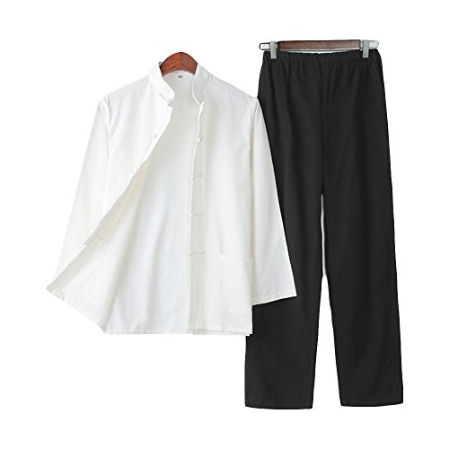 ZooBoo Chinese Martial Arts Suit - Chinese Traditional Tang Suit Costume Kung Fu Uniforms Long Sleeve Jacket Suits Shirt and Pant Outfit Uniforms for Man - Pure Cotton (M, White and Black) ()